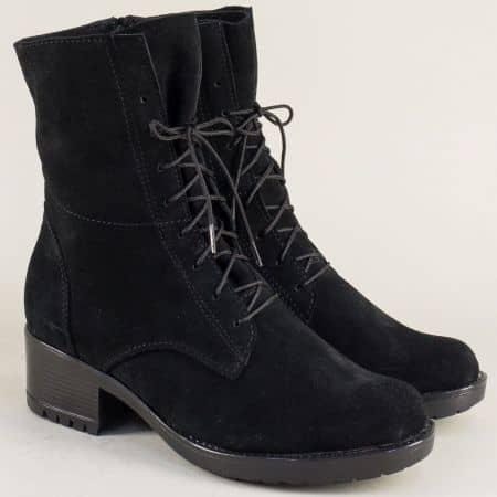 Велурени дамски боти в черен цвят на среден ток 2556658vch