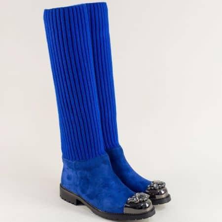 Дамски ботуши на нисък ток в син цвят с декорация 2571961vs