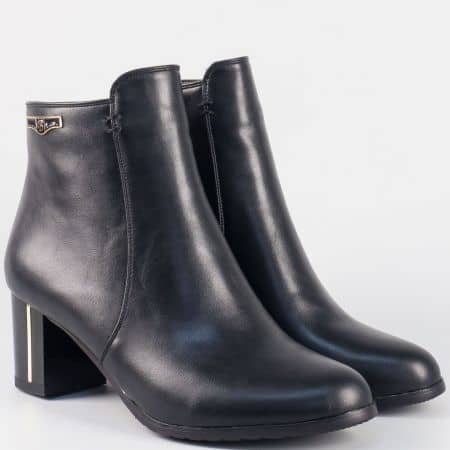 Ежедневни дамски боти на среден ток- Eliza в черен цвят 258164ch