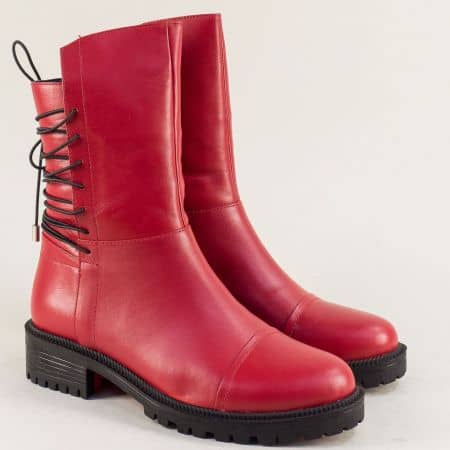 Червени дамски боти от естествена кожа с ластични връзки 258717chv