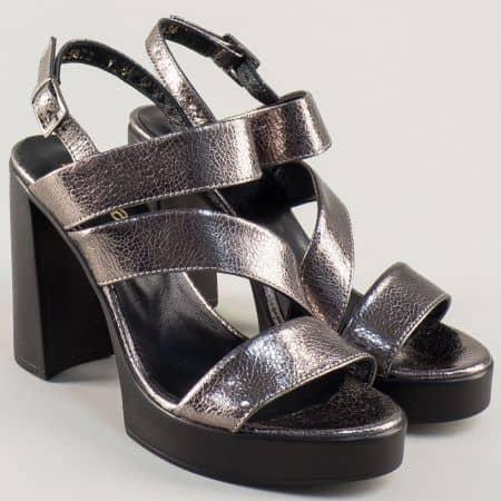 Дамски сандали в сребро на висок ток и платформа 25872sr