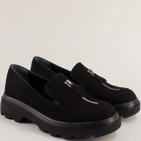 Черен набук дамска обувка на платформа 258784nch