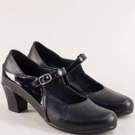 Български дамски обувки от естествен лак и кожа на среден ток 2591705ch