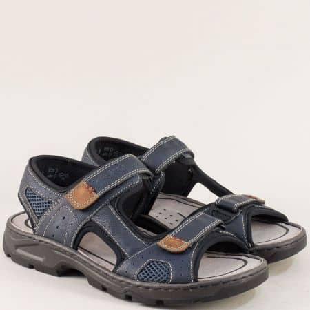 Шити мъжки сандали с две лепки в син цвят- Rieker 26156s