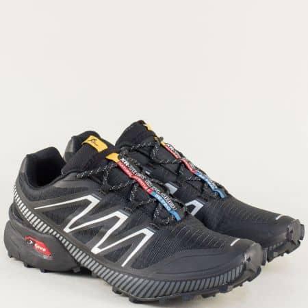 Мъжки маратонки на равно ходило с връзки в черен цвят 2915chsv