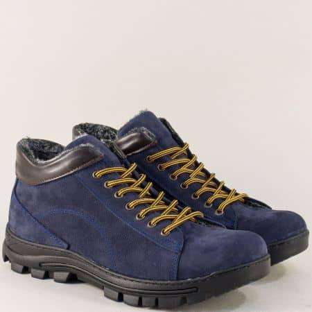 Сини мъжки боти от естествен материал в спортен стил 261ns