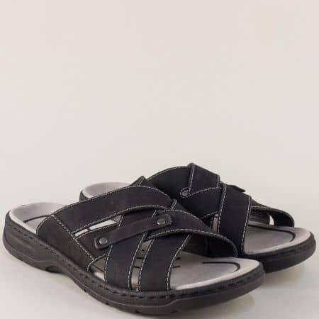 Шити мъжки чехли от черна естествена кожа- Rieker 26269ch