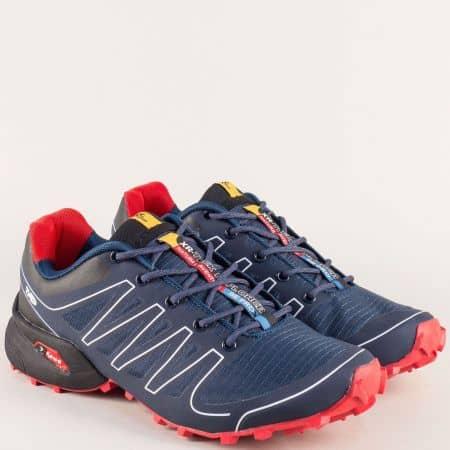 Мъжки маратонки в червено и тъмно синьо- KNUP 263711-45s
