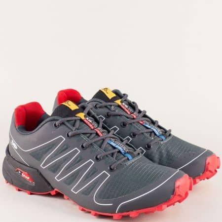 Унгарски мъжки маратонки в червено и сиво- KNUP 263714-45sv