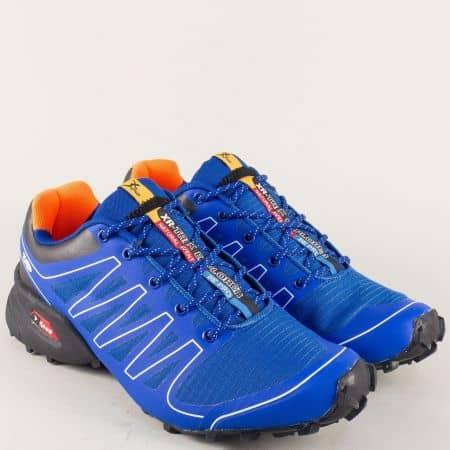 Мъжки маратонки в син цвят с връзки- Knup 263715-45s