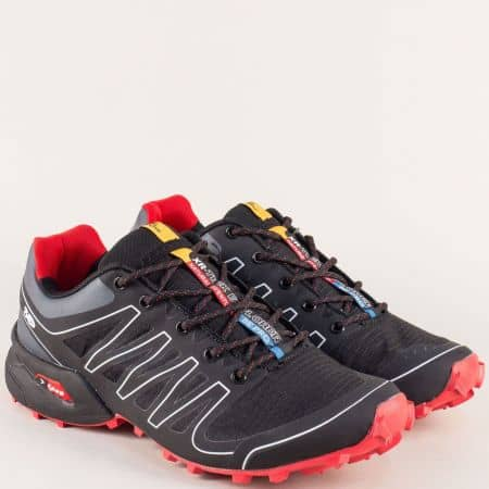 Унгарски мъжки маратонки в червено и черно- KNUP 263716-45ch