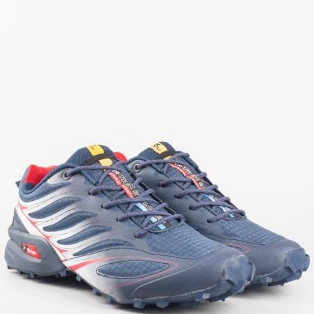 Мъжки спортни маратонки с грайферно комфортно ходило и връзки в син цвят 263911-45s