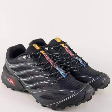 Спортни мъжки обувки в черно на равно ходило с връзки 263914-45ch