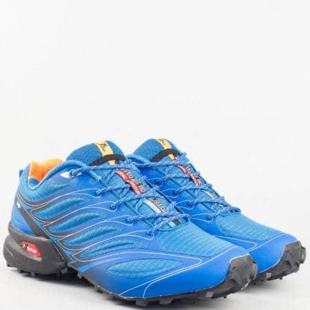 Мъжки сини маратонки на грайферно комфортно ходило с връзки 263915-45s