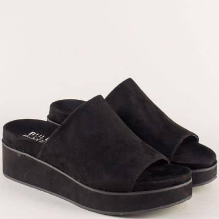 Анатомични дамски чехли на платформа в черен цвят 265004vch