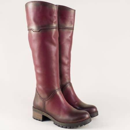 Дамски ботуши с грайфер от естествена кожа в цвят бордо 26501bd