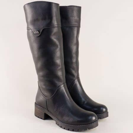 Черни дамски ботуши от естествена кожа с топъл хастар 26501ch