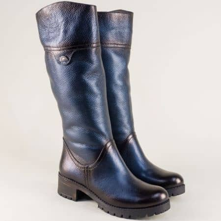 Сини дамски ботуши от естествена кожа на нисък ток 26501s