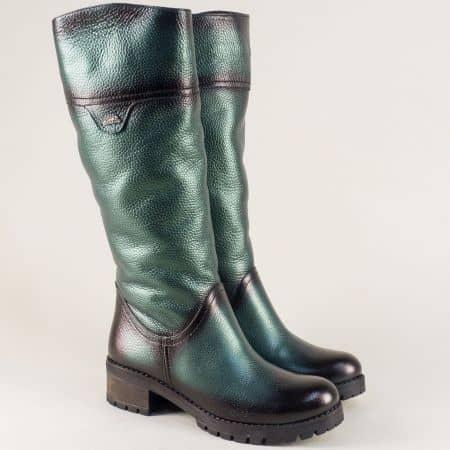 Зелени дамски ботуши от естествена кожа на грайферно ходило с нисък ток 26501z