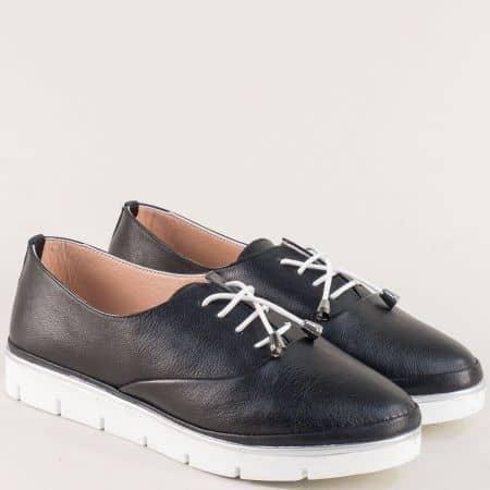 Черни дамски обувки от естествена кожа на равно ходило 26514061ch