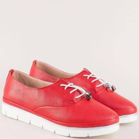 Червени дамски обувки от кожа на анатомично ходило 26514061chv