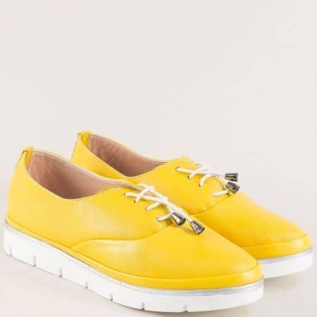 Жълти дамски обувки от естествена кожа с връзки 26514061j