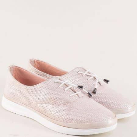 Розови дамски обувки с ластични връзки и кожена стелка 26514202srz
