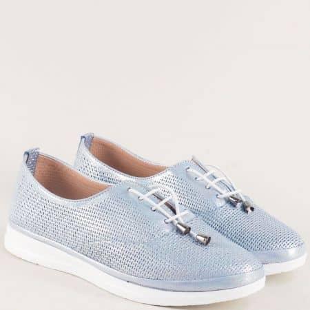 Светло сини дамски обувки от кожа на анатомично ходило 26514202ss