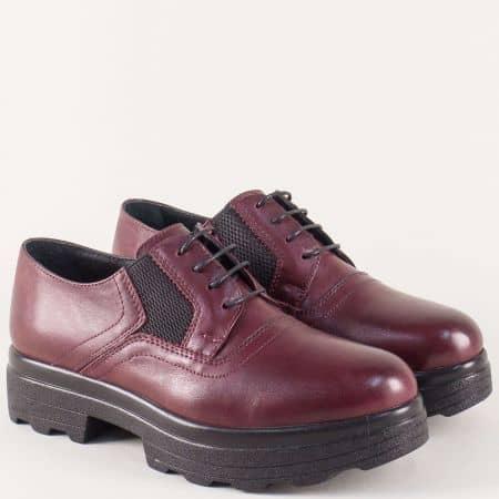 Кожени дамски обувки от естествена кожа в цвят бордо на платформа 26575bd