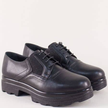 Черни дамски обувки от естествена кожа на платформа с връзки 26575ch