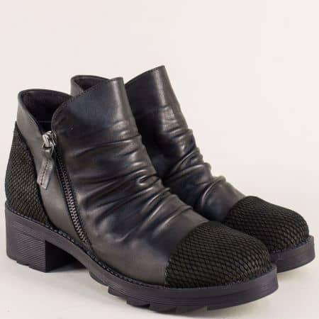 Черни дамски боти от естествена кожа на нисък ток 266040ch