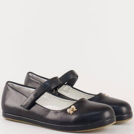 Детски равни обувки с кожена ортопедична стелка и лепка- Athletic в черен цвят 2667ch