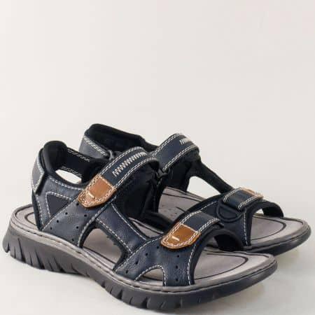 Шити мъжки сандали в син цвят с три лепки- Rieker  26759s