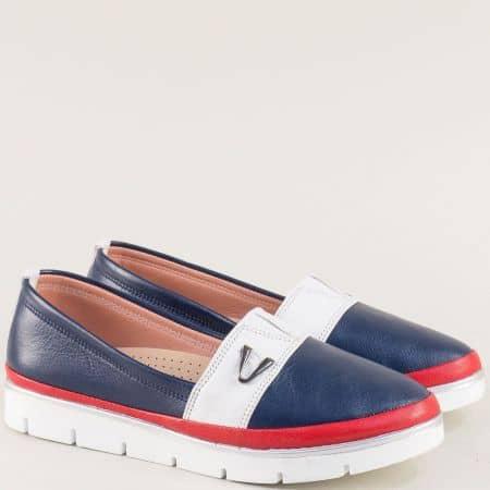 Дамски обувки от естествена кожа в синьо, бяло и червено 26814061tomi