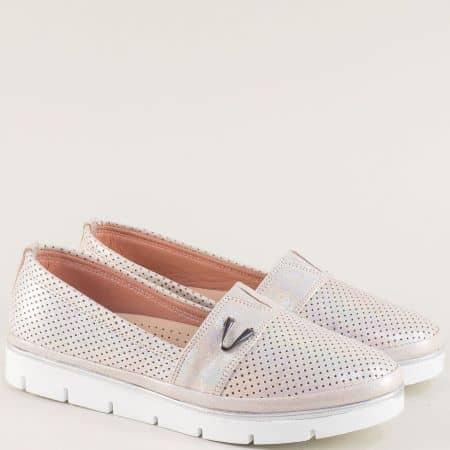 Дамски обувки в розов цвят с кожена ортопедична стелка  26914061srz