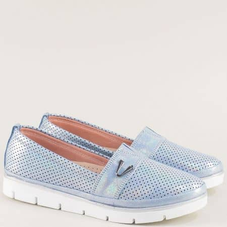 Светло сини дамски обувки от естествена кожа и сатен 26914061ss