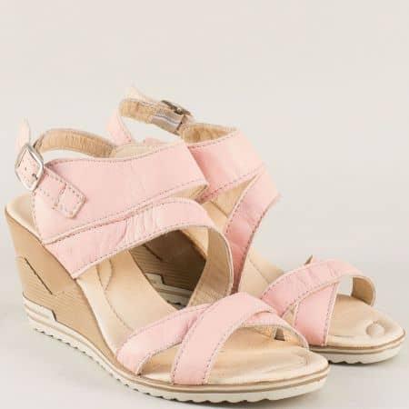 Розови дамски сандали на клин ходило с кожена стелка 26915462rz