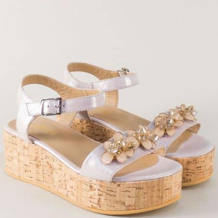 Розови дамски сандали на платформа от естествена кожа 27023rz