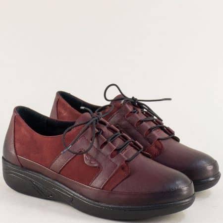 Дамски обувки от естествен набук и кожа в цвят бордо 2702bd