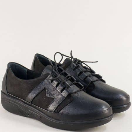 Черни дамски обувки от естествен набук и кожа 2702ch