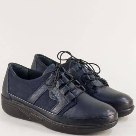 Сини дамски обувки от естествен набук и кожа 2702s