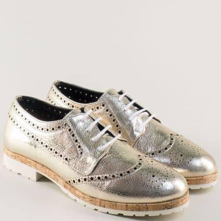Златисти дамски обувки на нисък ток от естествена кожа 27090zl
