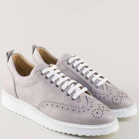 Сиви дамски обувки с връзки от естествен велур и кожа 27098vsv