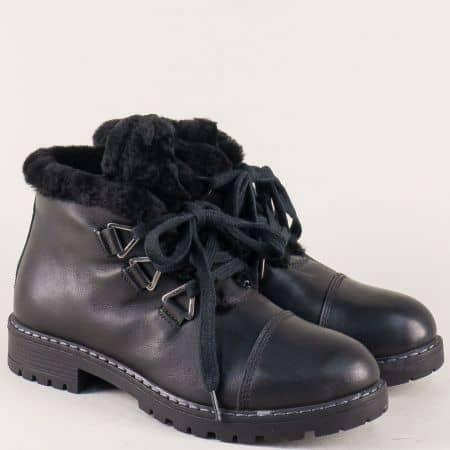 Дамски боти с пухче от естествена кожа в черен цвят 270ch