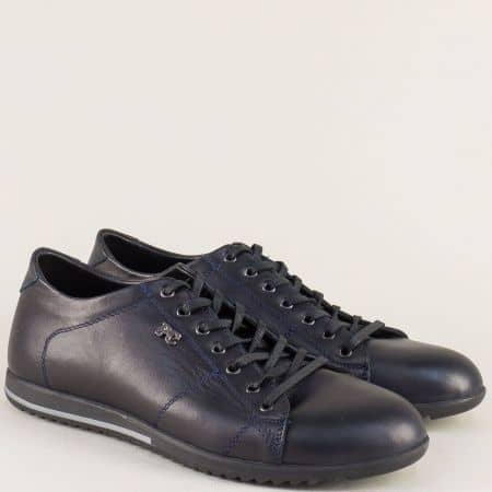 Кожени мъжки обувки в син цвят на равно ходило с връзки 270s
