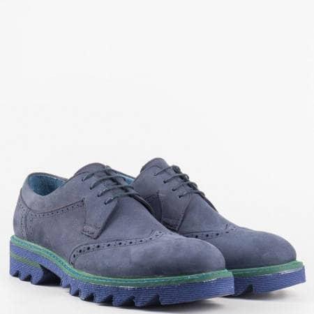 Мъжки комфортни обувки изработени изцяло от висококачествени материали - набук и кожа в син цвят 2710ns