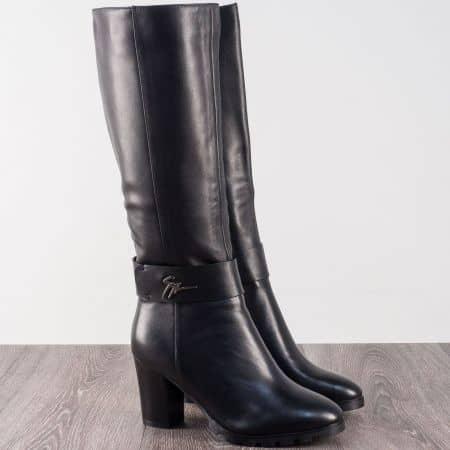 Черни дамски ботуши на висок ток от естествена кожа 27145920ch