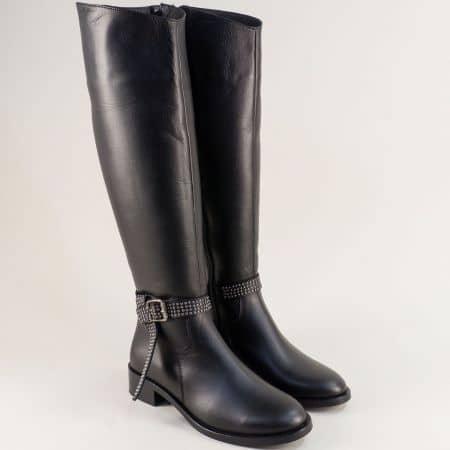 Дамски равни ботуши от естествена кожа в черен цвят 2744116ch