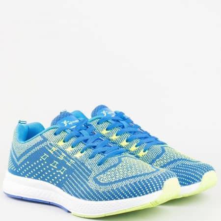 Модерни мъжки маратонки Athletic от текстил в син и зелен цвят 2757-45s