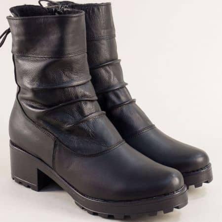 Дамски боти в черен цвят от естествена кожа с топъл хастар  2771610ch